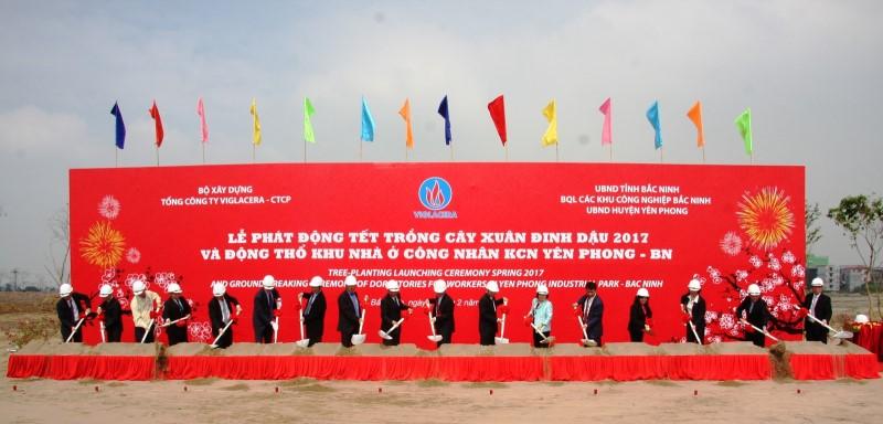 Nghi thức động thổ Khu nhà ở công nhân Khu Công nghiệp Yên Phong.