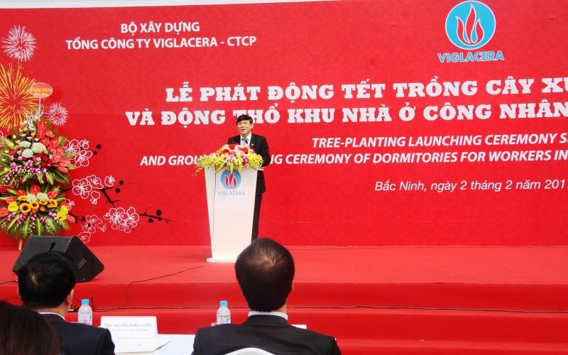 Ông Nguyễn Tiến Nhường – Phó chủ tịch Thường trực UBND Tỉnh Bắc Ninh phát biểu đánh giá cao sự quyết tâm của Viglacera trong vai trò là nhà tiên phong trong lĩnh vực Nhà ở xã hội.