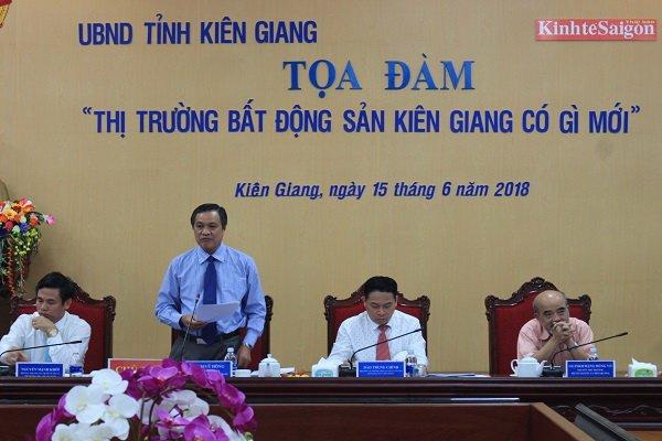 Ông Phạm Vũ Hồng, Phó Bí thư Tỉnh ủy, Chủ tịch UBND tỉnh Kiên Giang phát biểu khai mạc tọa đàm. Ảnh: Trung Chánh