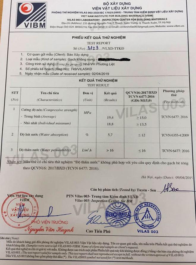 """Một văn bản cho thấy gạch không nung sử dụng tại một số công trình đầu tư công ở quận Thanh Xuân, Hà Nội không đạt tiêu chuẩn về """"Độ thấm nước""""."""
