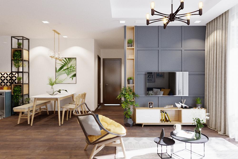 Cây xanh được tận dụng đặt ở mọi không gian, không chỉ giúp căn phòng trở nên có sức sống mà còn mang lại khoảng không tươi mát.