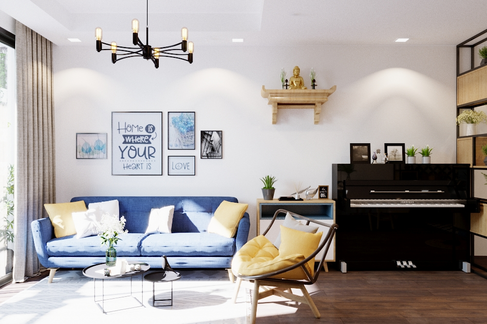 Phòng khách Hiện đại kết hợp Scandinavian, tone màu xanh trắng kết hợp vân gỗ. Đặc điểm của phong cách này là sự thoáng sang, và décor tinh tế.