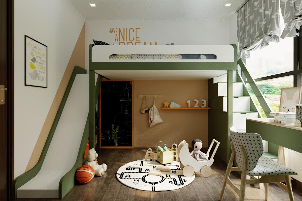 Phòng ngủ của bé trai sáng tạo, nâng giường ngủ lên cao để tạo không gian vui chơi,