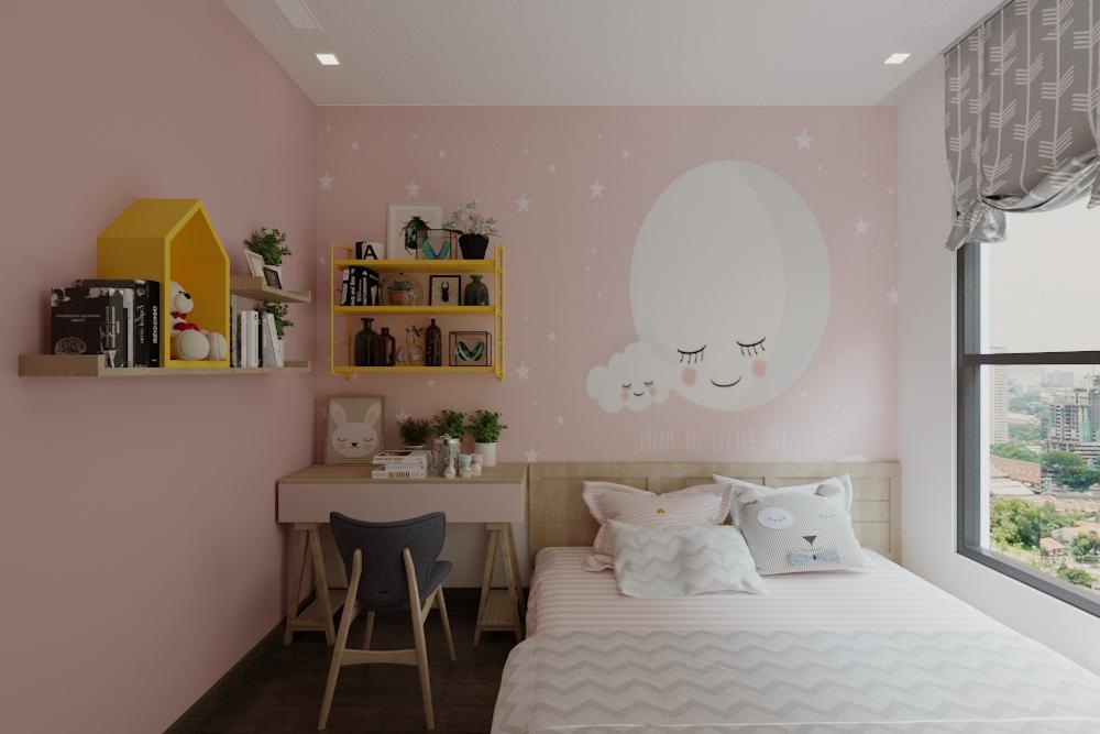 Phòng ngủ con gái dàng hệ bục nâng sàn kết hợp tủ áo, tiết kiệm không gian. Sử dụng màu sắc, kết hợp vẽ tranh tường để tạo không gian mơ mộng cho bé
