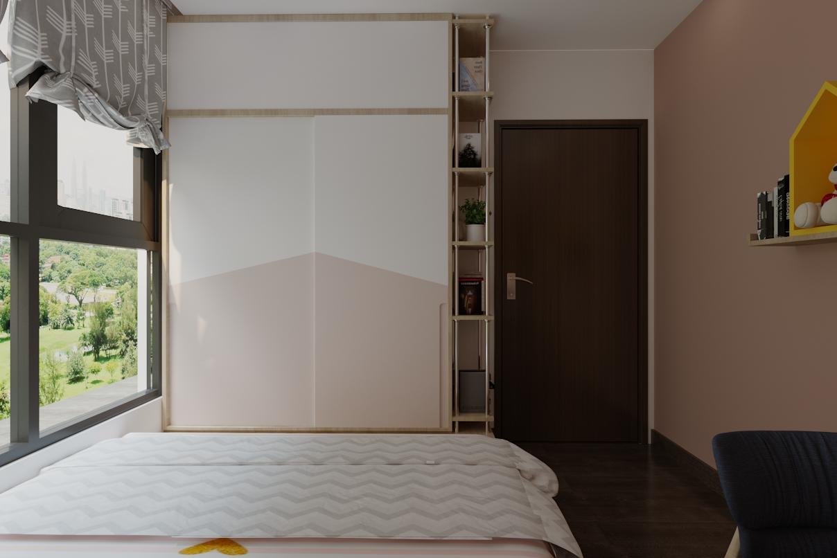 dàng hệ bục nâng sàn kết hợp tủ áo, tiết kiệm không gian.