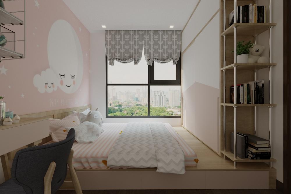 Giường được bố trí trên hệ bục nâng sàn và kết hợp tủ áo, giúp tiết kiệm không gian