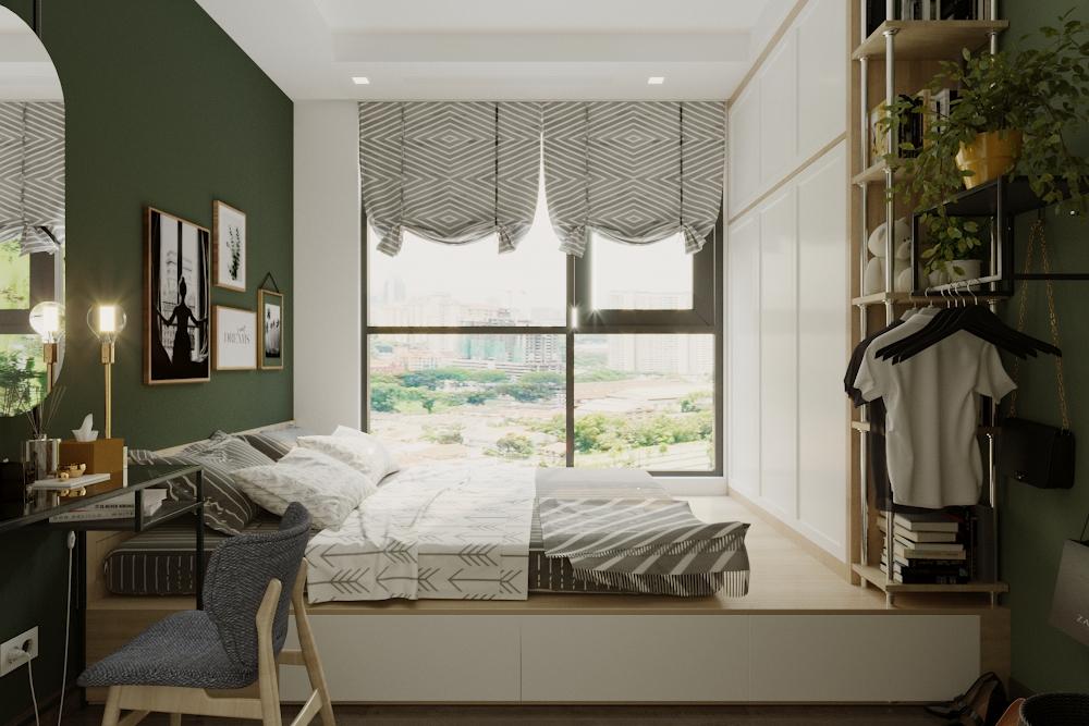 Phòng ngủ master được thiết kế gần giống như phòng ngủ của bé với việc tận dụng không gian, nâng giường ngủ lên kết hợp làm tủ đựng quần áo và vật dụng trang trí