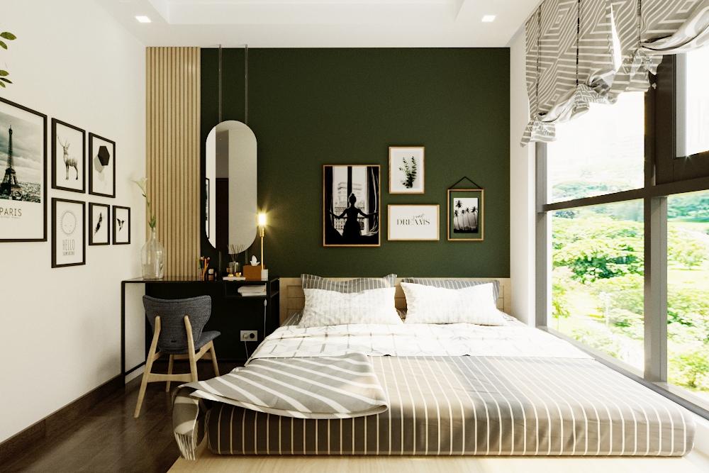 Khoang cửa sổ lớn giúp tận dụng ánh sáng vào ban ngày và tạo cảm giác rộng rãi hơn cho căn phòng