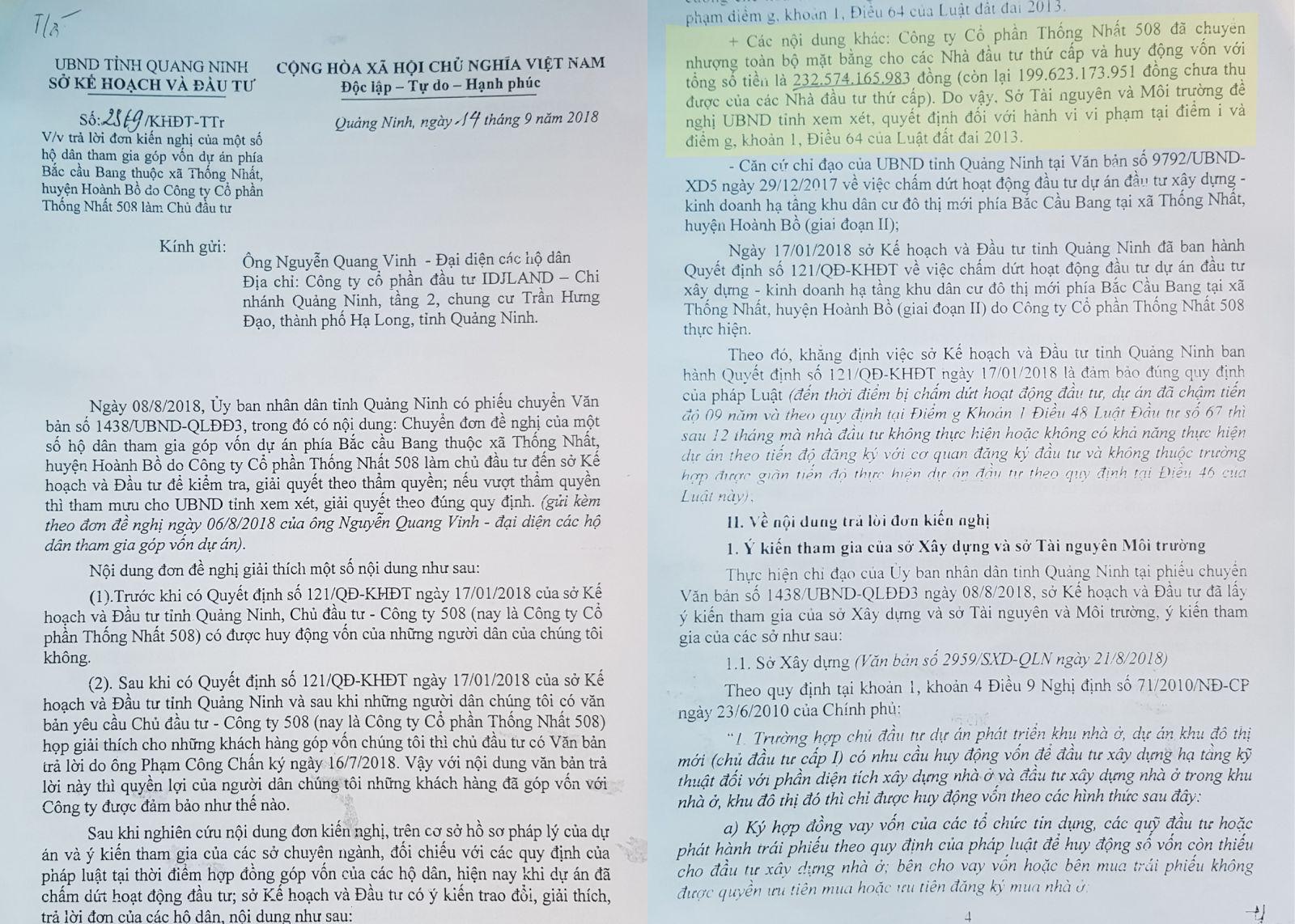 Văn bản của Sở KH&ĐT tỉnh Quảng Ninh cho biết Công ty Cổ phần Thống Nhất 508 đã huy động được hơn 230 tỷ đồng.
