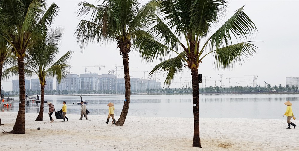 Hồ lớn trung tâm rộng hơn 24ha được triển khai trong 70 ngày.