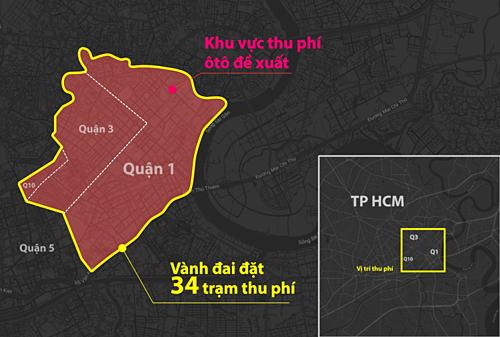 Khu vực thu phí được ITD đề xuất (bên trong đường màu đỏ). Đồ họa: Hoàng Khánh