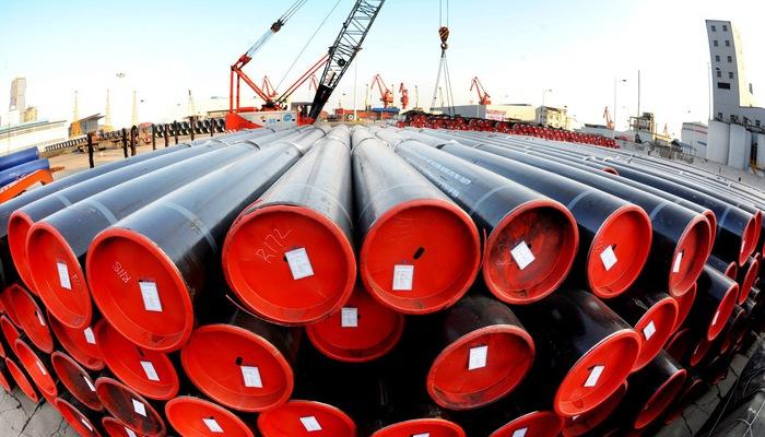 Thép ống chờ xuất khẩu tại cảng Lianyungang tại tỉnh Giang Tô, Trung Quốc - Ảnh: Getty Images
