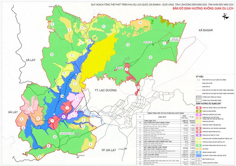 """Bản đồ """"Định hướng không gian du lịch"""" theo Quy hoạch tổng thể KDLQG Đan Kia - Suối Vàng. Ảnh tư liệu"""