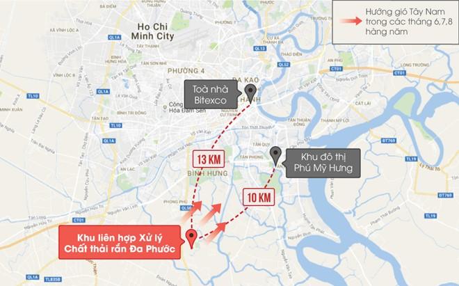 Vị trí bãi rác Đa Phước và khu vực lân cận. Đồ họa: Phượng Nguyễn.