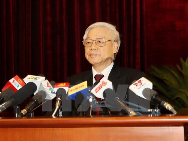 Tổng Bí thư Nguyễn Phú Trọng phát biểu bế mạc Hội nghị. (Ảnh: Trí Dũng/TTXVN).