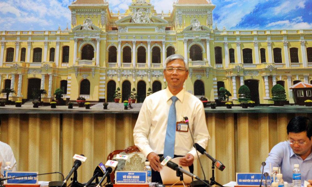 Ông Võ Văn Hoan, Chánh VP UBND TP.HCM chủ trì buổi họp báo.