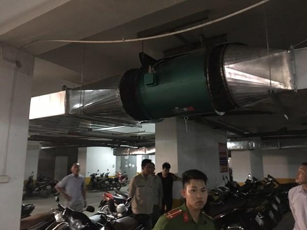 Quạt hút khói tại tầng hầm chưa được bảo vệ chống cháy.