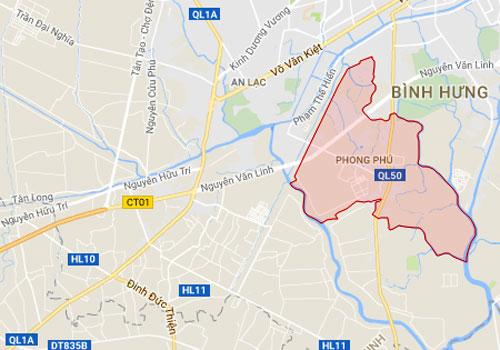 Bản đồ định vị xã Phong Phú, huyện Bình Chánh nằm chếch về phía Nam TP HCM với trục đường Nguyễn Văn Linh và Quốc lộ 50 đi ngang qua. Ảnh chụp màn hình.