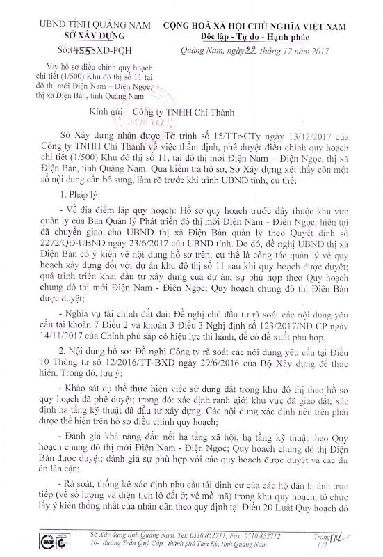 Văn bản của Sở Xây dựng tỉnh Quảng Nam.