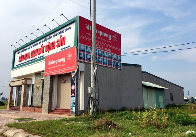 Trụ sở sàn giao dịch của Công ty bất động sản Thăng Long được xây dựng trên đất của dự án.