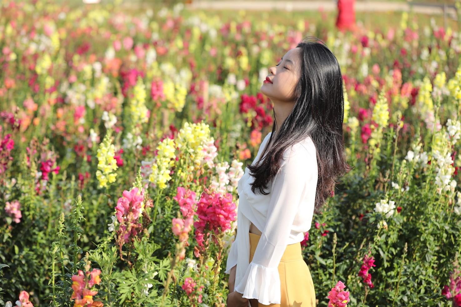 """Kế bên đồi hoa tím biếc, vườn hoa mõm sói đủ sắc màu bừng lên trong nắng dẫn lối du khách đến chợ vùng cao, nơi những sản vật Tây Bắc được chính đồng bào mang tới """"thết đãi"""" khách phương xa."""