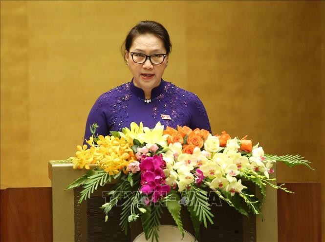 Chủ tịch Quốc hội Nguyễn Thị Kim Ngân phát biểu khai mạc kỳ họp. Ảnh: Doãn Tấn/TTXVN