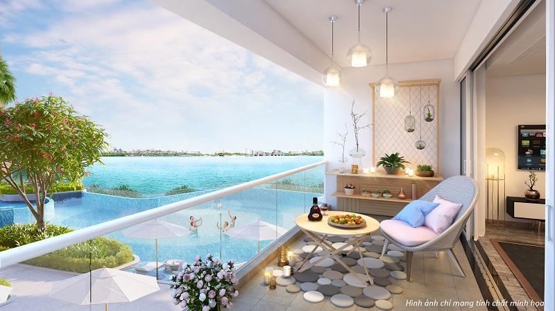 Nếu là người yêu biển, bạn có thể bố trí không gian lô gia thoáng rộng thành một góc bãi biển với cát sỏi dưới chân và những bộ sofa êm ái.