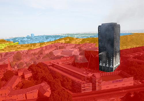 Dựa trên khảo sát của chính phủ năm 2015, tòachung cư 24 tầng Grenfell nằm trong khu vực đánh dấu màu đỏ đậm tương trưng cho mức sốngnghèo nhất. Ảnh:HuffPost