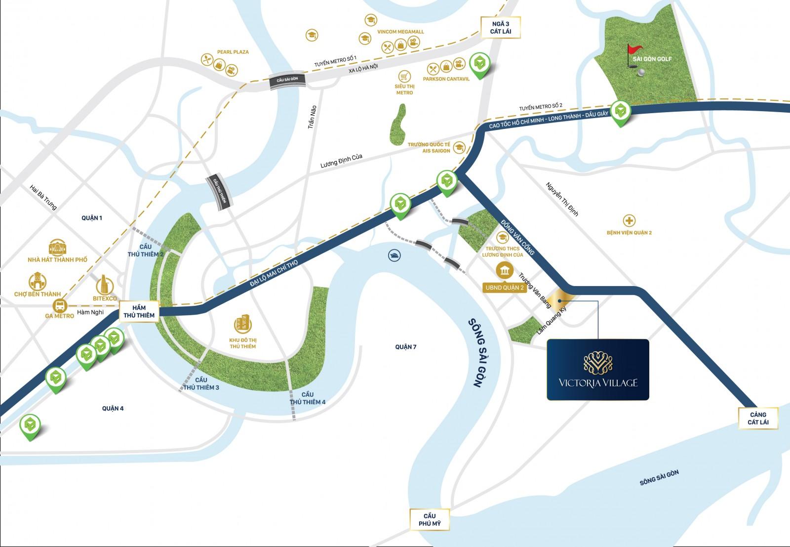 Vị trí Victoria Village sở hữu nhiều ưu thế kết nối giao thông