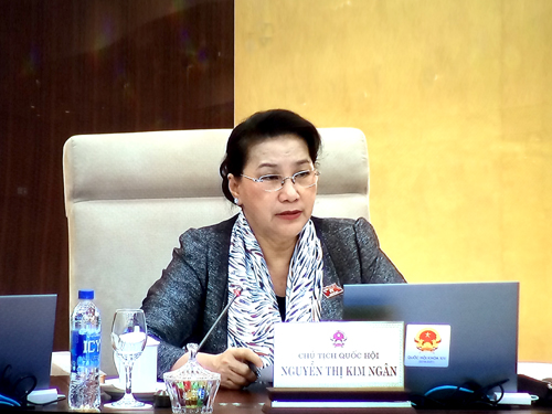 Chủ tịch Quốc hội Nguyễn Thị Kim Ngân chủ trì phiên họp. Ảnh: VGP/Nguyễn Hoàng