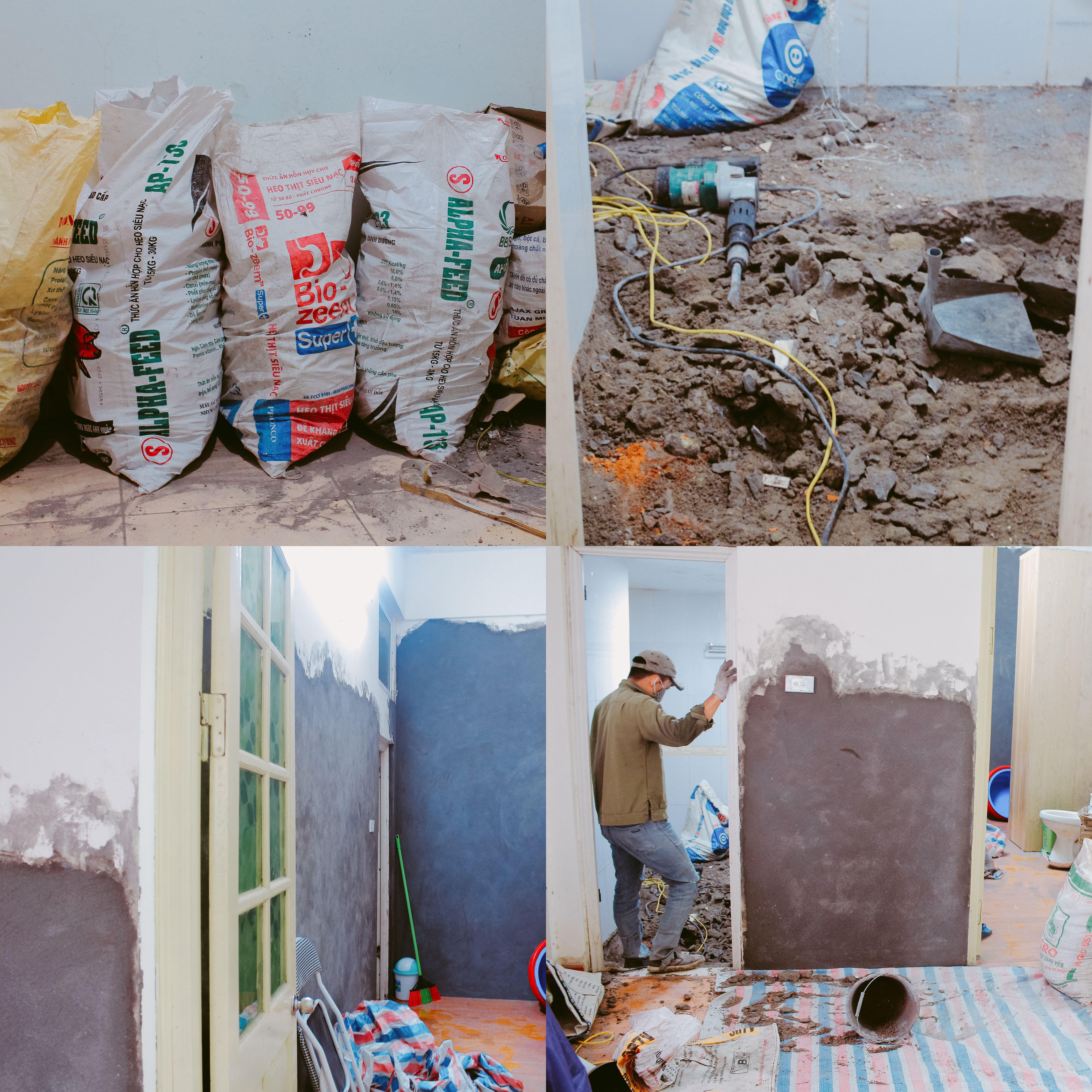 Gia đình chị Xuân phải thuê thợ về sửa lại toàn bộ tường nhà và chống thấm.