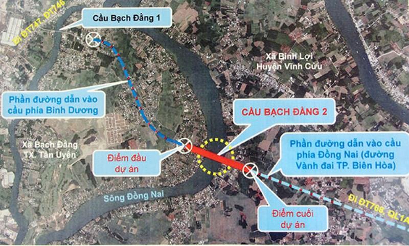 Sơ đồ vị trí dự án cầu Bạch Đằng 2.