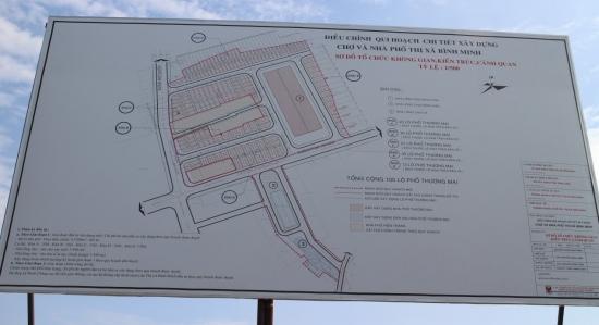 Điều chỉnh quy hoạch của dự án Chợ và nhà phố thị xã Bình Minh.