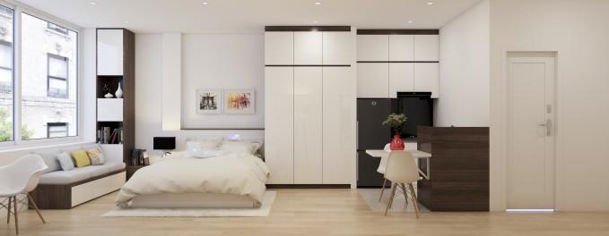 """Một căn hộ studio khác có phong cách thiêt kế nội thất tương tự. Đặc điểm của căn hộ studio là """"nhiều không gian trong 1"""" và hầu hết không có bức vách ngăn."""
