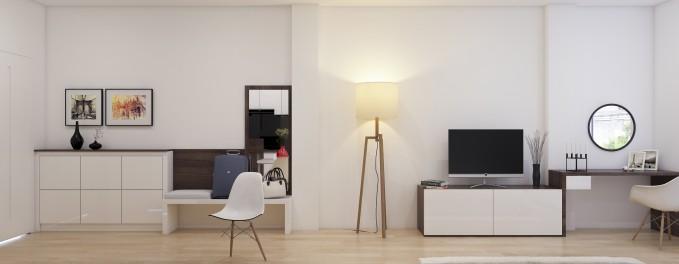 Nội thất đẹp và điển hình cho căn phòng có diện tích nhỏ. Chiếc gương treo khiến căn phòng thêm rộng hơn.