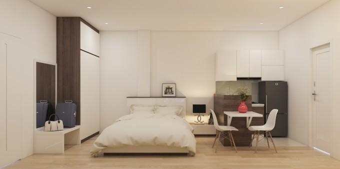 Khu vực bếp, bàn ăn và phòng khách được kết hợp trong một không gian thuận tiện.