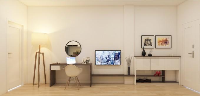 Căn hộ sử dụng gam màu sáng để làm tăng kích thước cho không gian.Các nội thất nhỏ gọn của căn hộ đơn giản nhưng đầy sang trọng. Một tủ giầy nhỏ kết hợp với tủ đựng đồ lưu trữ góp phần tạo nên vẻ gọn gàng cho căn hộ.