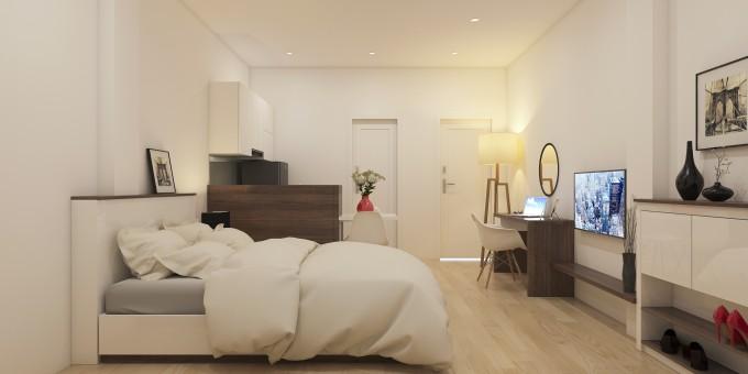 Phía trên đầu giường là chiếc kệ nhỏ  dùng để trưng bày những khung tranh nghệ thuật.