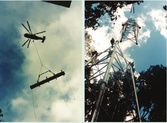 Máy bay trực thăng được sử dụng triệt để để xây dựng các tháp của hệ thống cáp treo