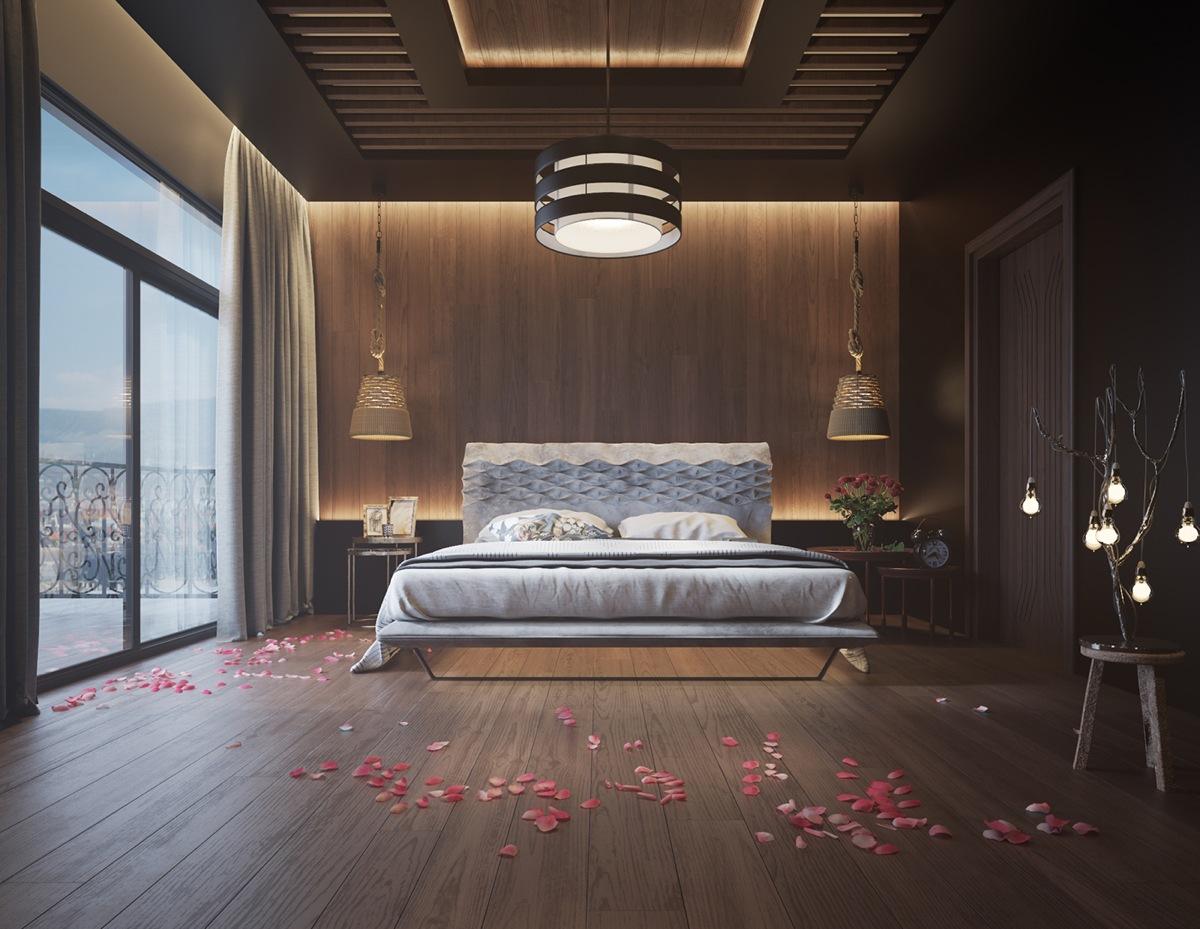 Thiết kế phòng ngủ lãng mạn với tường gỗ