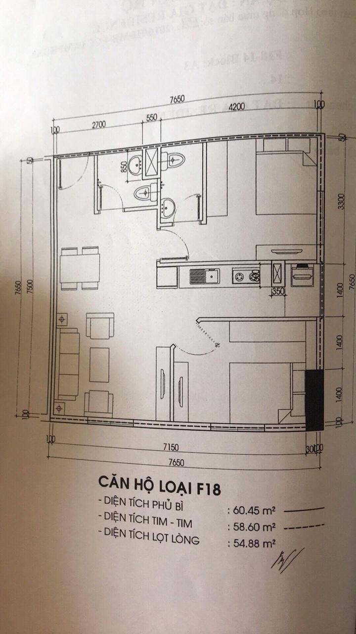 Bản vẽ mô tả diện tích căn hộ đính kèm theo hợp đồng.