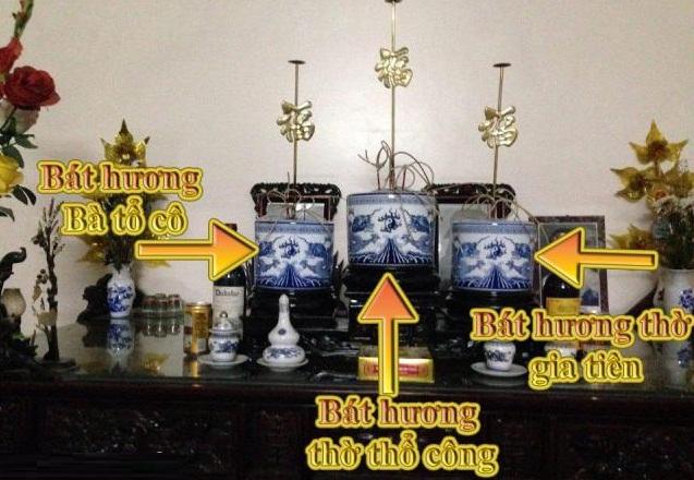 Vị trí các bát hương trên ban thờ gia tiên