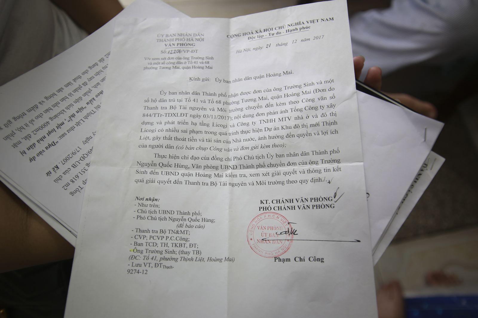 Uỷ ban nhân dân Thành phố Hà Nội có công văn đề nghị UBND Quận Hoàng Mai xem xét, giải quyết những vấn đề liên quan đến dự án Khu đô thị mới Thịnh Liệt.