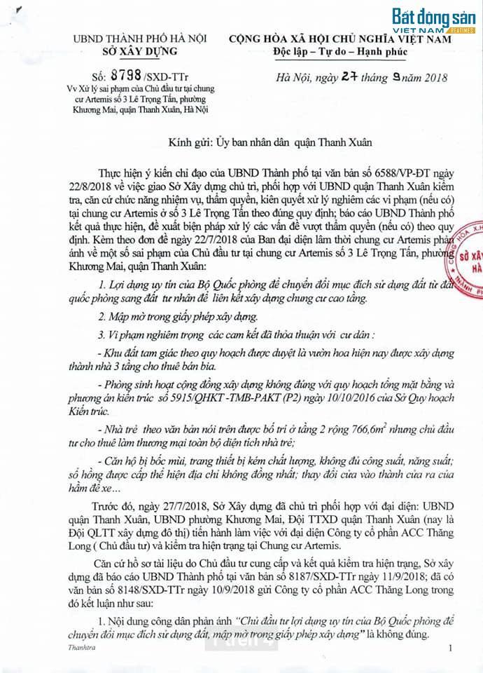 Văn bản của Sở Xây dựng gửi UBND quận Thanh Xuân.