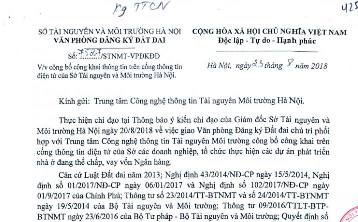 Văn bản thông báo của văn phòng đăng ký đất đai Hà Nội.