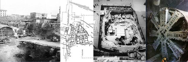 Việc xây dựng ga ngầm Termini (Rome ) đã phá huỷ các di sản trên và dưới mặt đất. Hố đào tại quảng trường Duomo trước nhà thờ Milan (Ytaly) bị rào kín