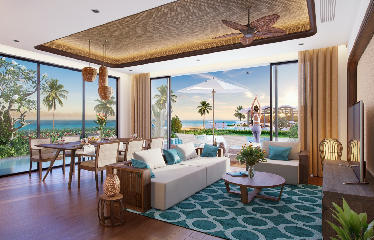 Tại Best Western Premier Sonasea Phu Quoc, các ô cửa kính rộng được sử dụng tối đa, mang đến không gian chan hòa cùng thiên nhiên