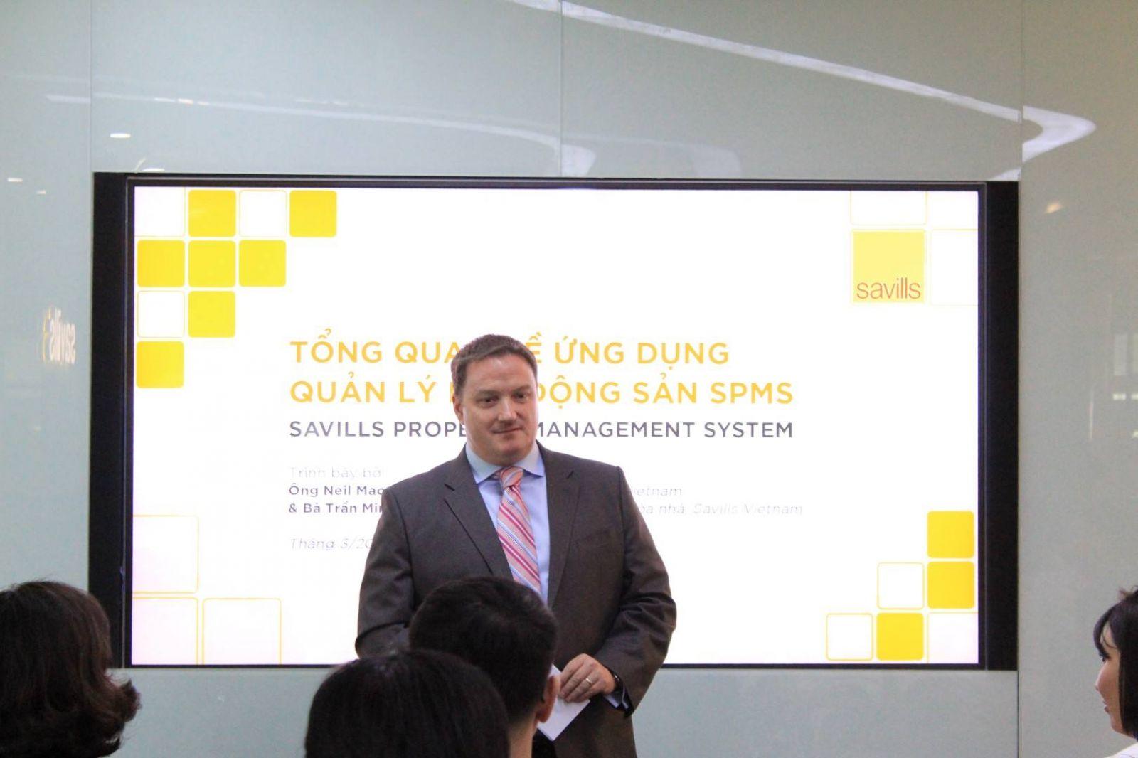 Ông Neil MacGregor, Tổng Giám đốc Savills Việt Nam phát biểu tại buổi ra mắt ứng dụng SPMS