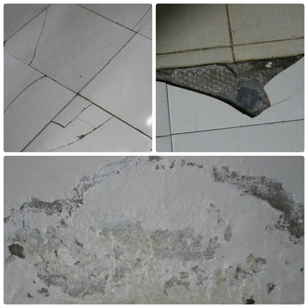 Tường ẩm mốc, bong tróc, sàn nhà nứt toác
