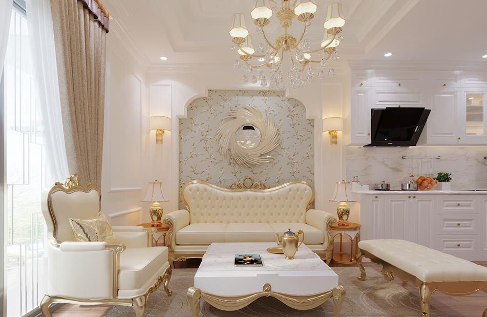Không gian nội thất đa phần được phủ thảm. Các đồ dùng trang trí đều có đường nét uốn lượn, cong vòm riêng biệt.